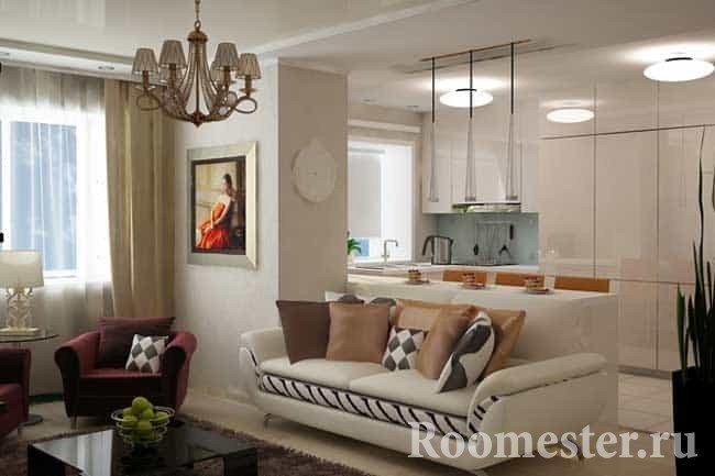 Гостиная и кухня в квартире