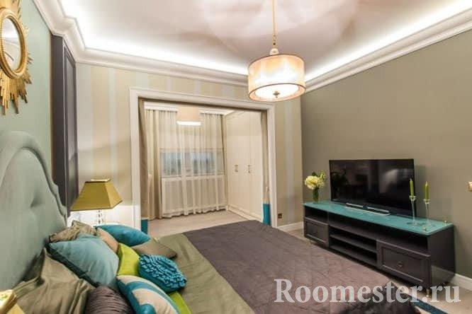 К спальне можно присоединить балкон