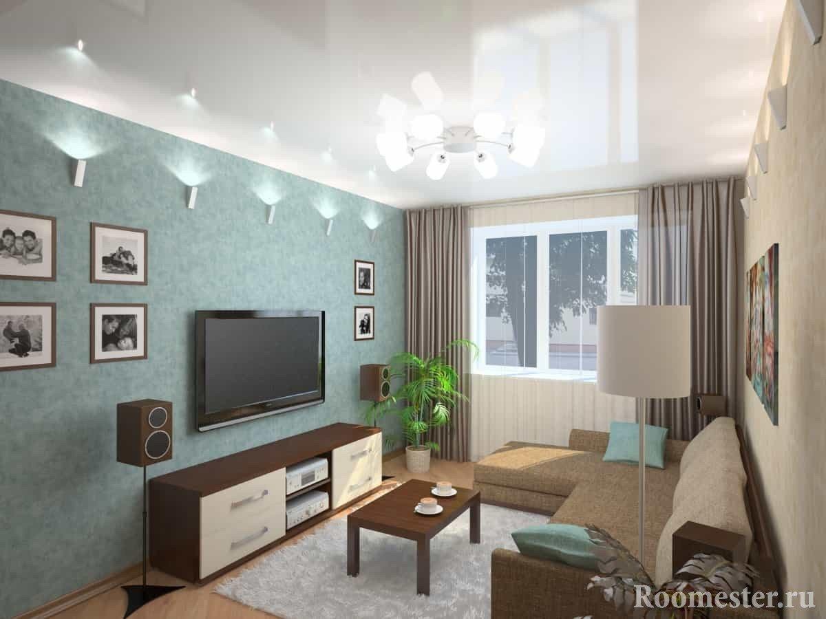 Дизайн-проект гостиной 19 кв м