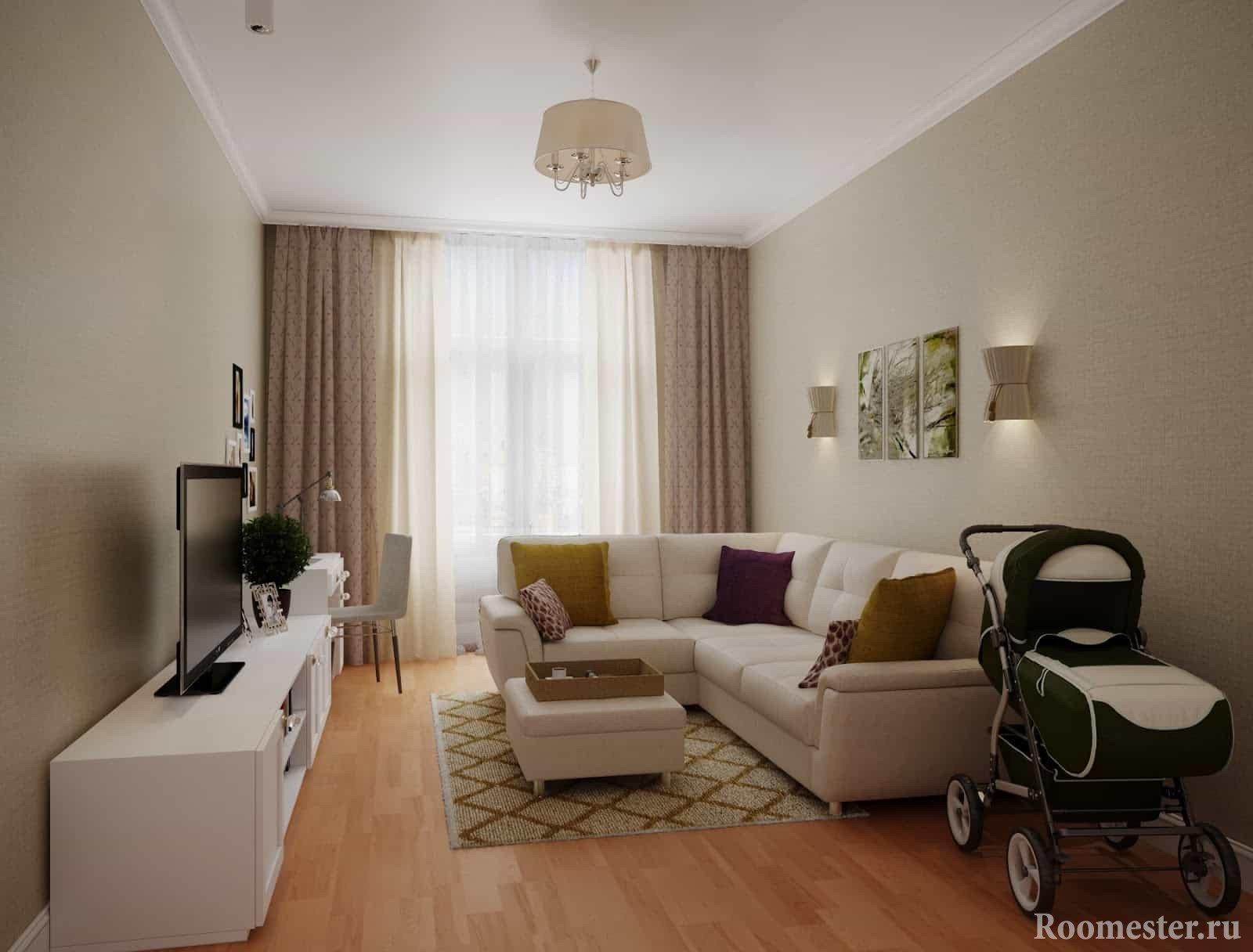 Стильный современный дизайн гостиной 20 кв м