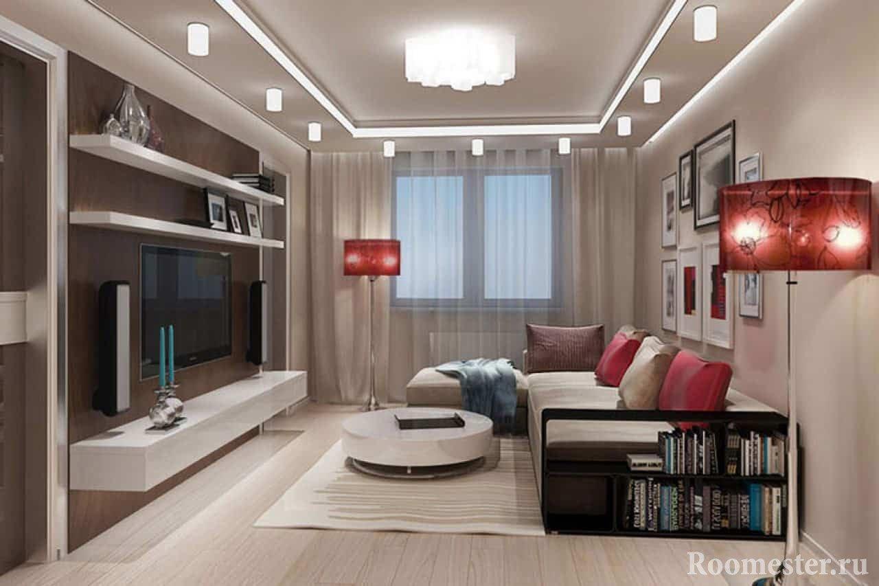 Двухуровневый потолок в дизайне гостиной