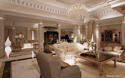 Интерьер гостиной в классическом стиле — фото дизайна