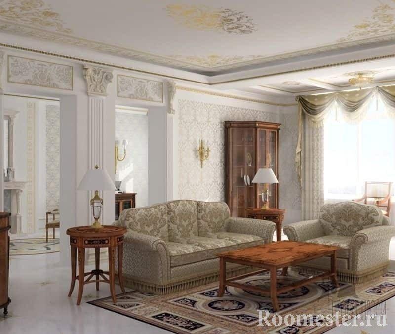 Настольные светильники, бра в дизайне гостиной в классическом стиле