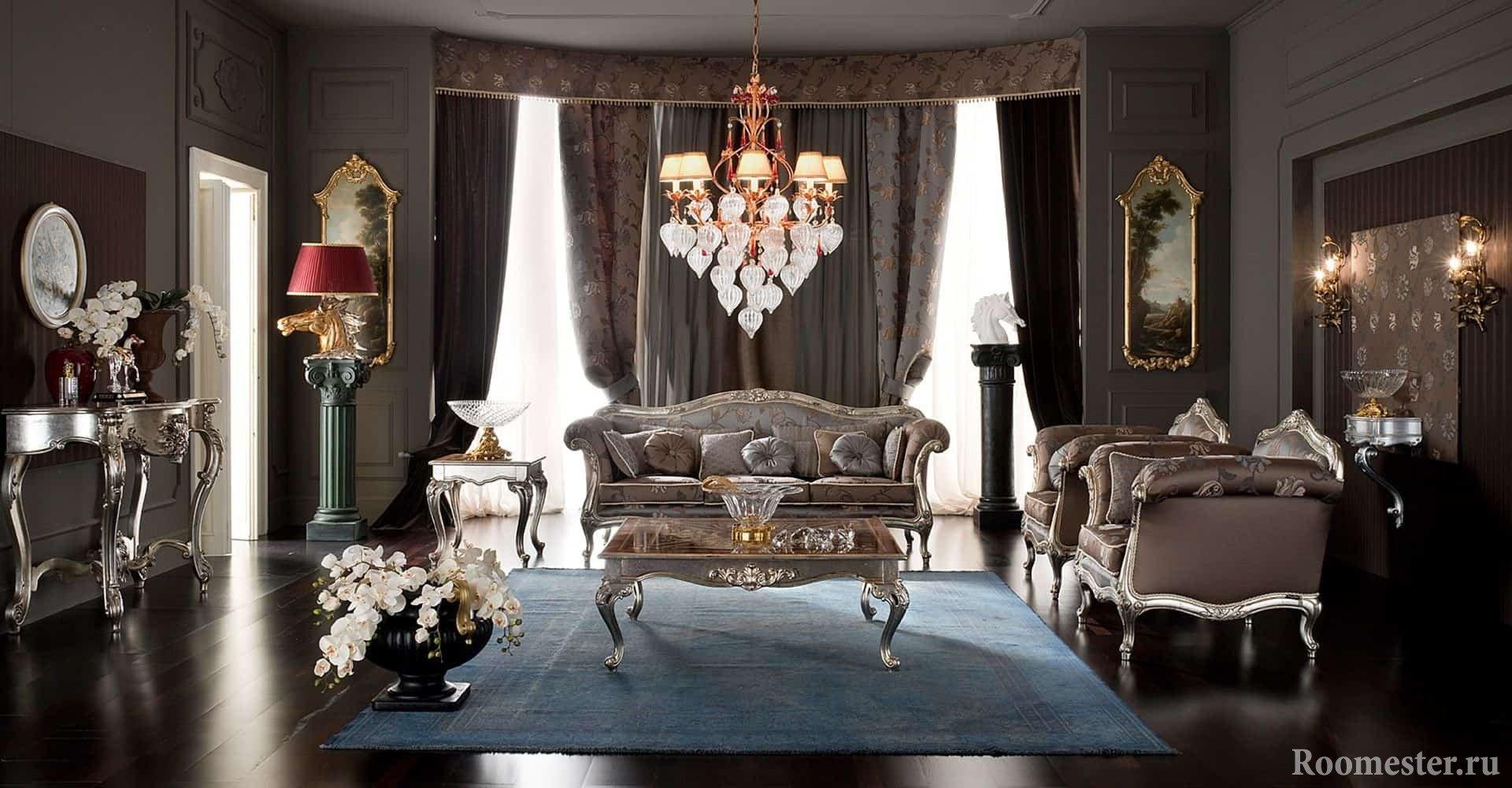 Дизайн гостиной в темном цвете в классическом стиле