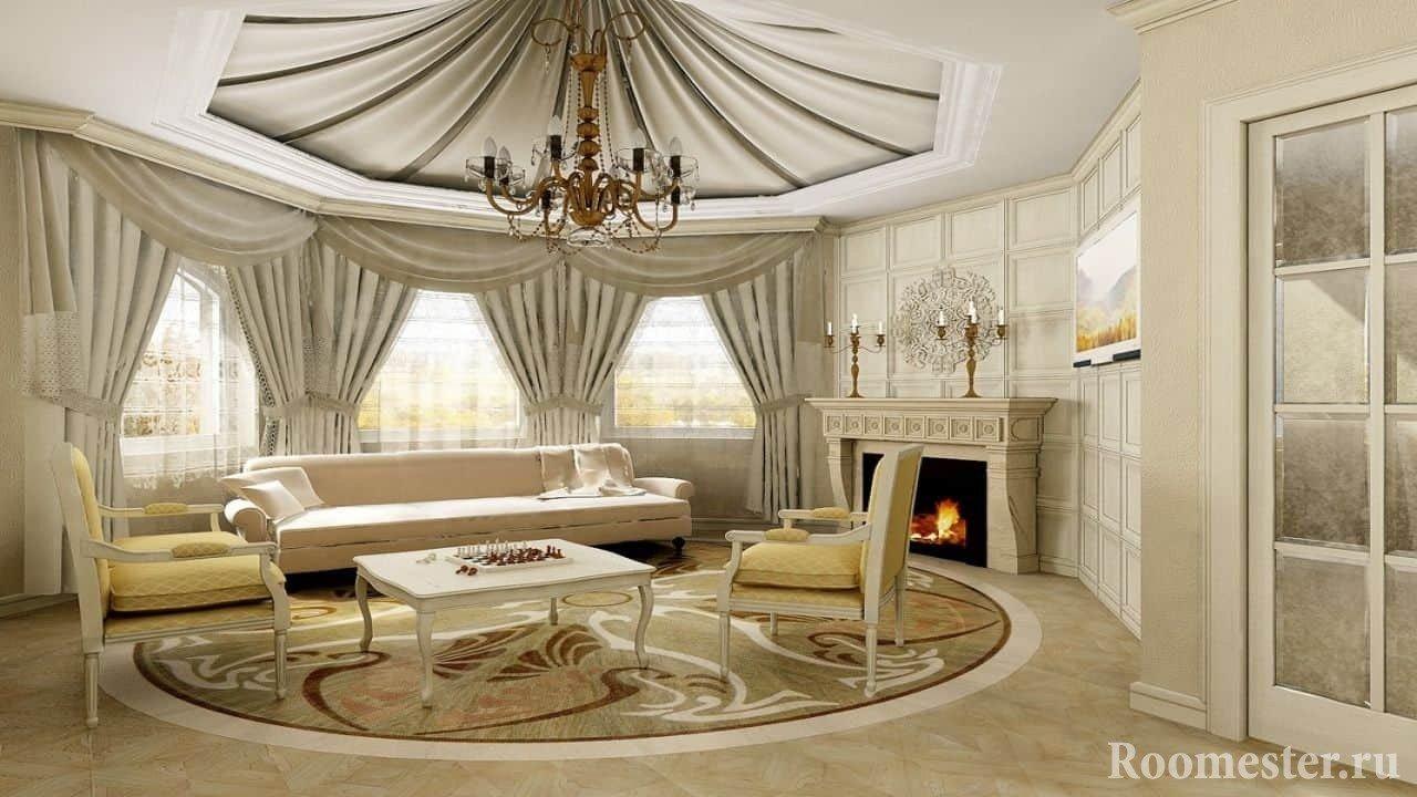 Оформление дизайна гостиной тканями в классическом стиле