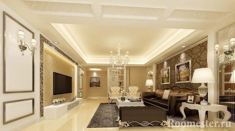 Светлая и уютная гостиная в классическом стиле
