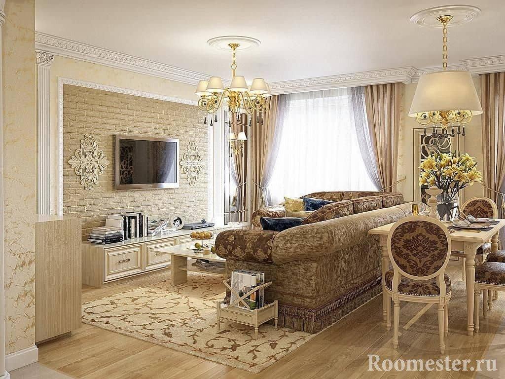 Подбор цвета в дизайне гостиной в классическом стиле
