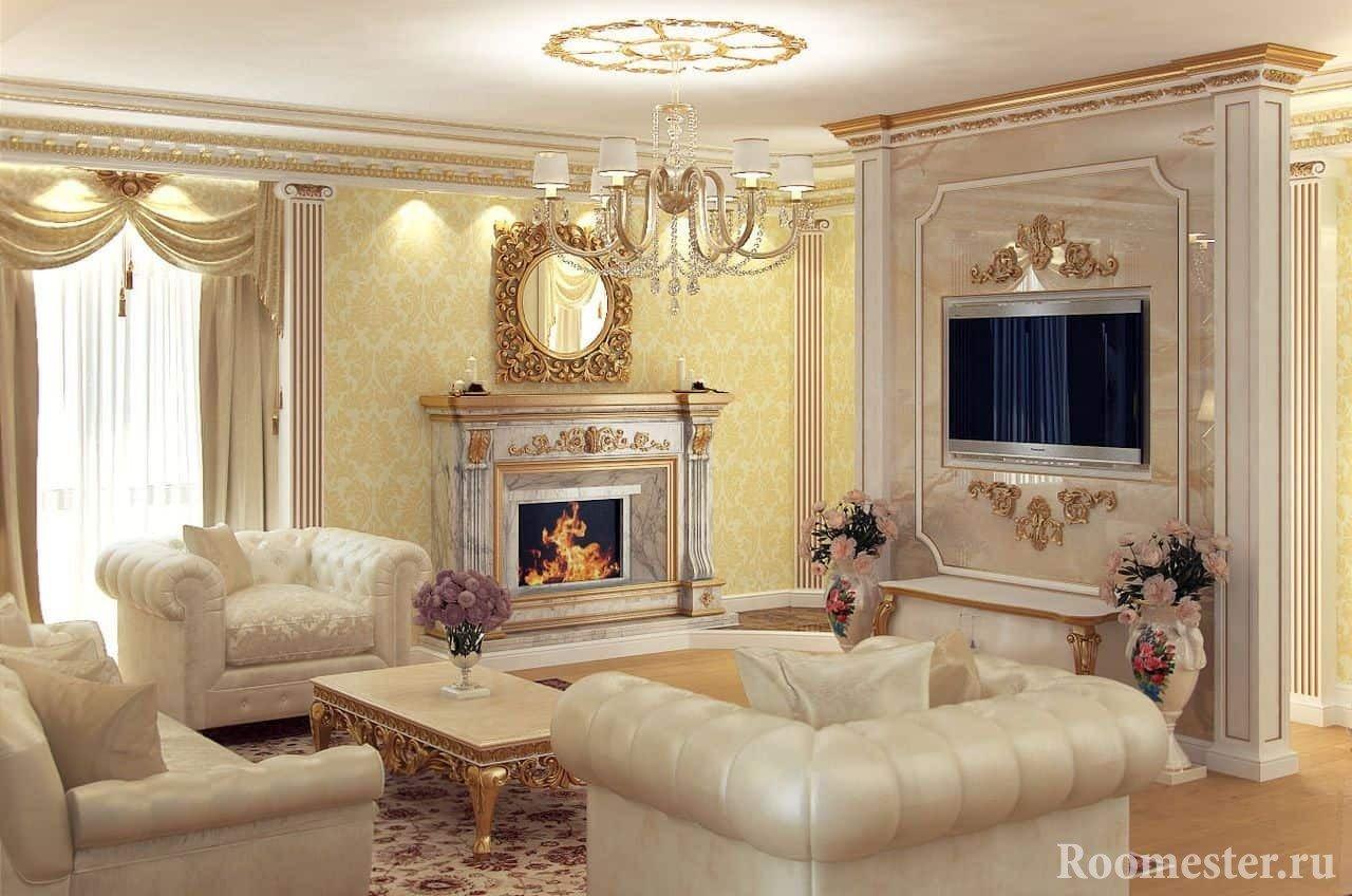 Камин в дизайне гостиной в классическом стиле
