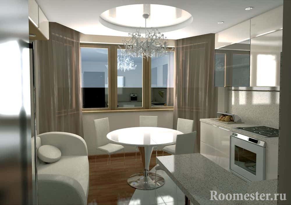 Дизайн проект кухни с эркером и барной стойкой в виде рабочего места