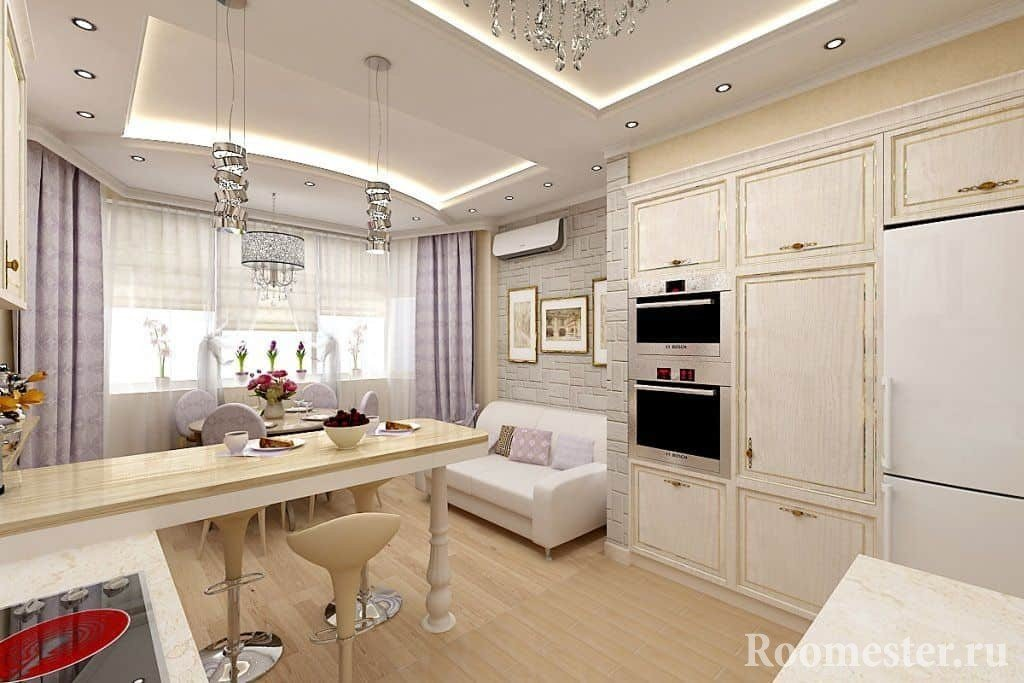 Кухня с эркером с барной стойкой и вместительными шкафами