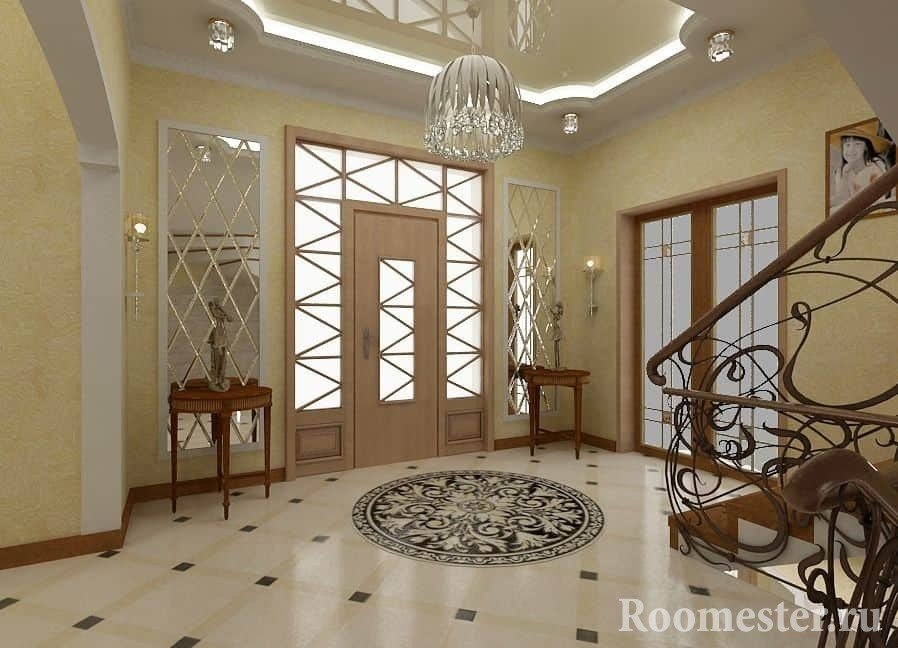 Дизайн коридора-прихожей с лестницей в частном доме