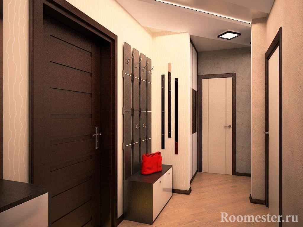 Отделка коридора с цветом венге