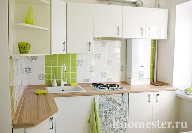 Белый и зеленый в отделке кухни