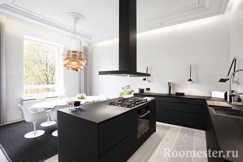 дизайн кухни без верхних шкафов идеи хранения фото интерьера