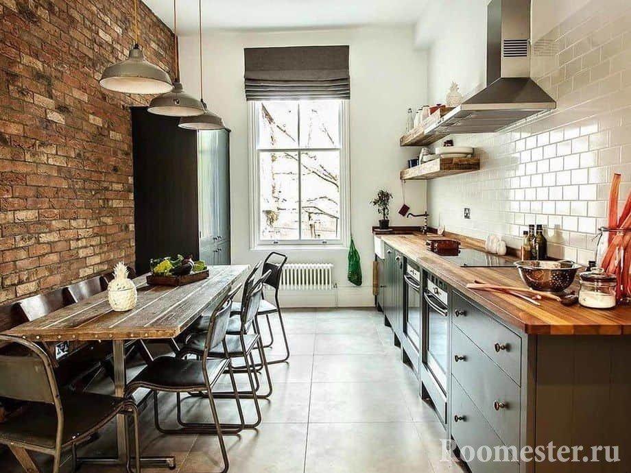 Узкая длинная кухня