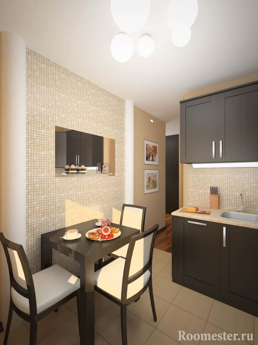 Плитка в виде мелкой мозаики визуально увеличит площадь маленькой кухни