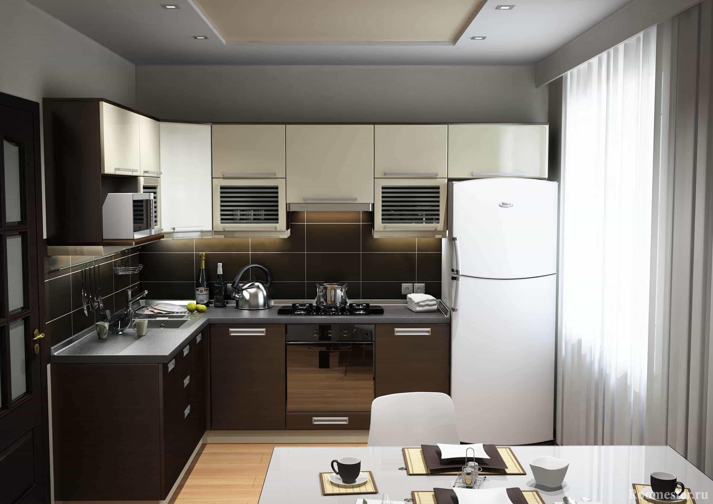 Компактное расположение мебели в маленькой кухне