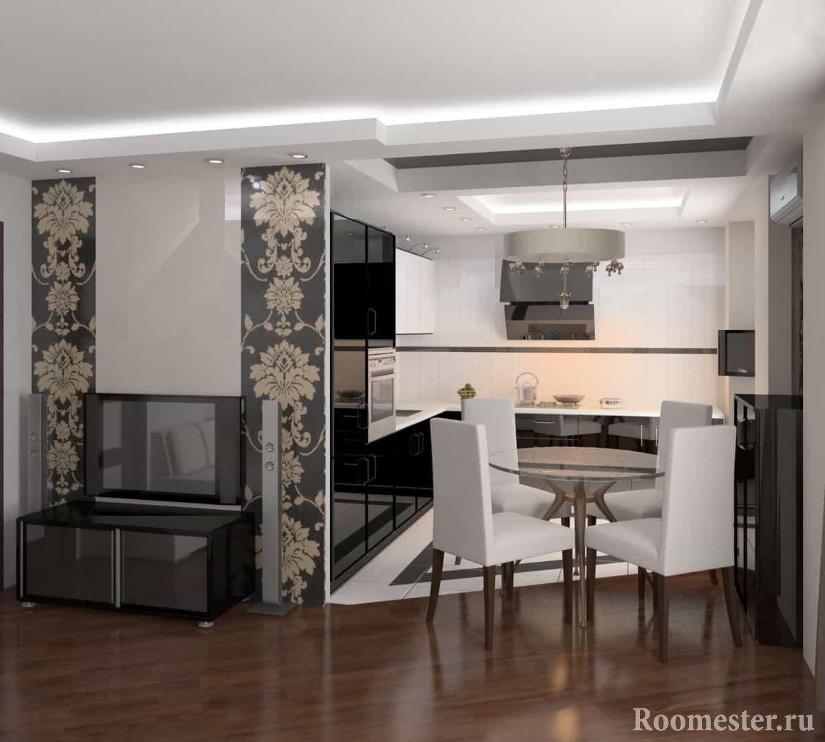 Дизайн зала совмещенного с небольшой кухней