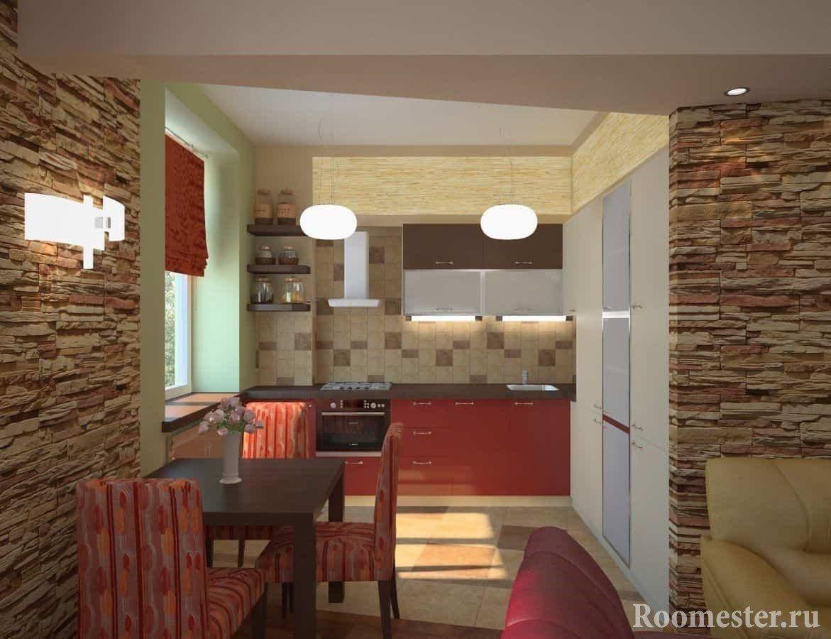 Искусственный камень в отделке стен в гостиной совмещенной с кухней в хрущевке