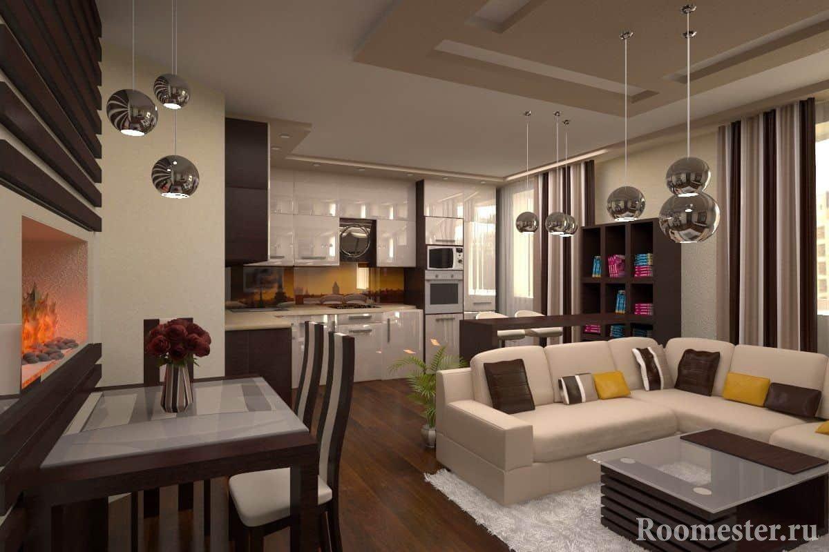 Гостиная с функцианальными зонами - кухня+ столовая