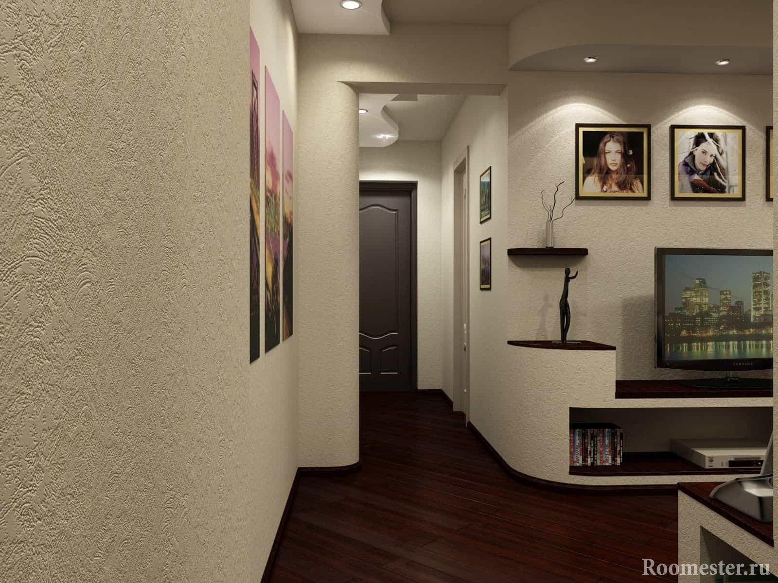 Фактурная штукатурка в отделке стен маленького коридора