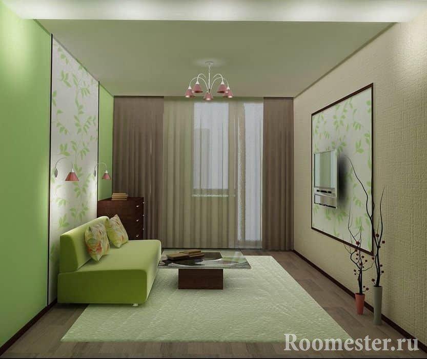 Зеленая комната в хрущевке