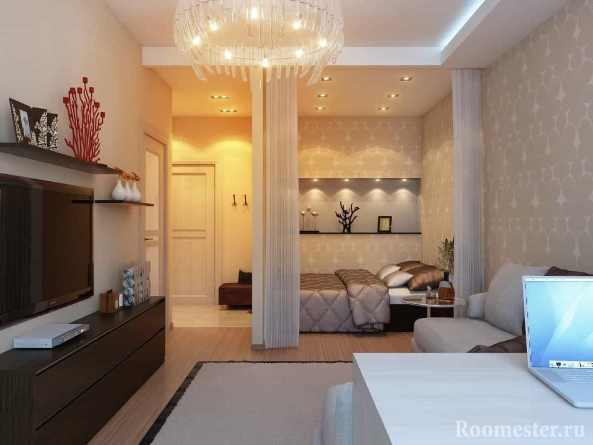 Дизайн однокомнатной квартиры с спальней