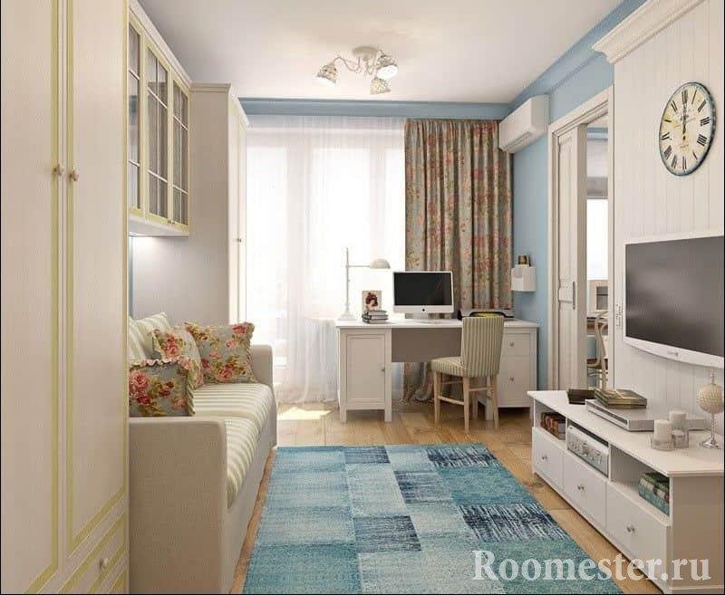 Гостиная в однокомнатной квартире хрущевке