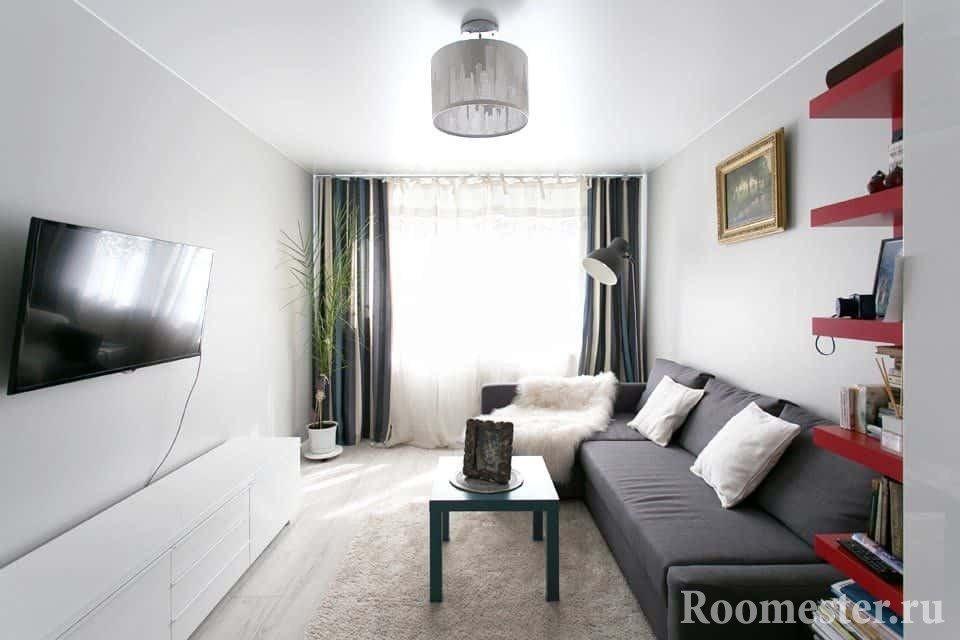Черно-белая комната в хрущевке
