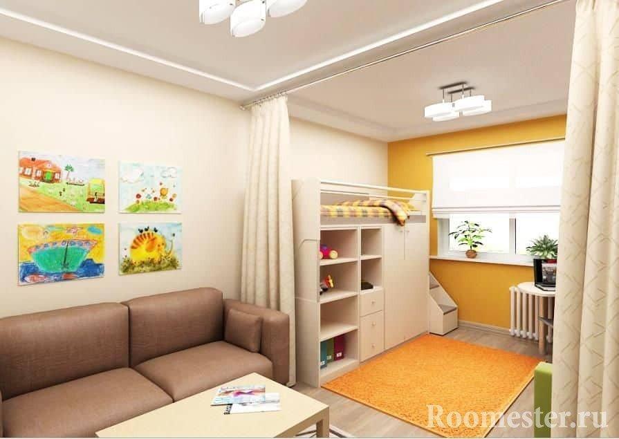 Детская зона в однокомнатной квартире
