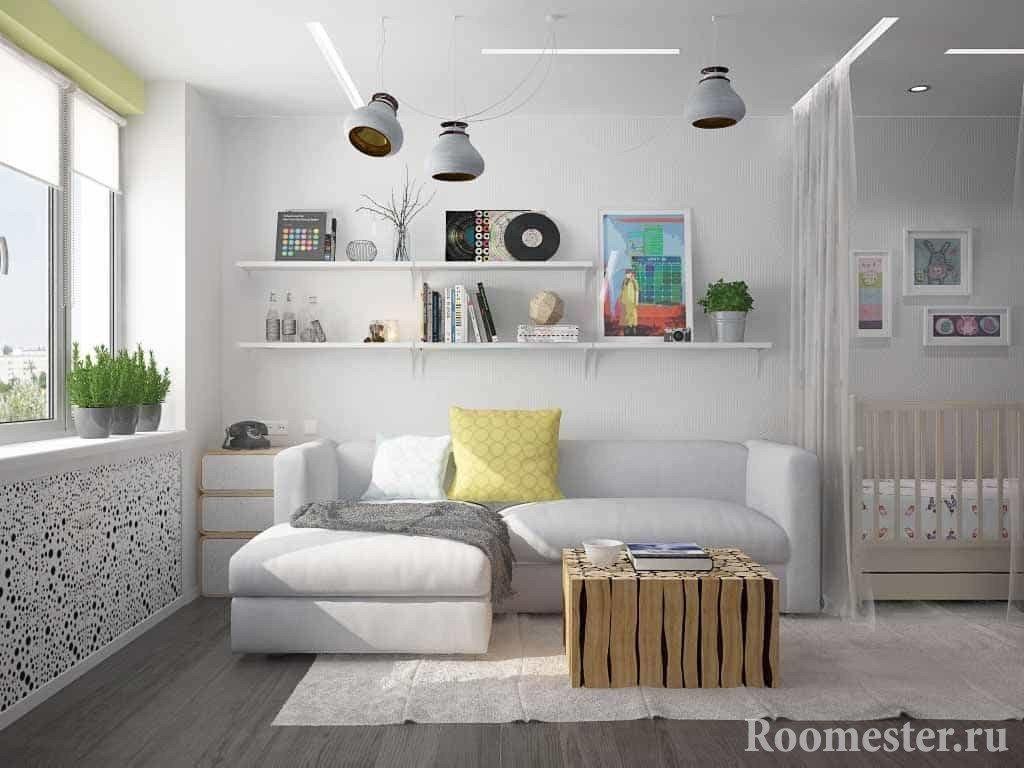 Дизайн однокомнатной квартиры для родителей с грудным ребенком
