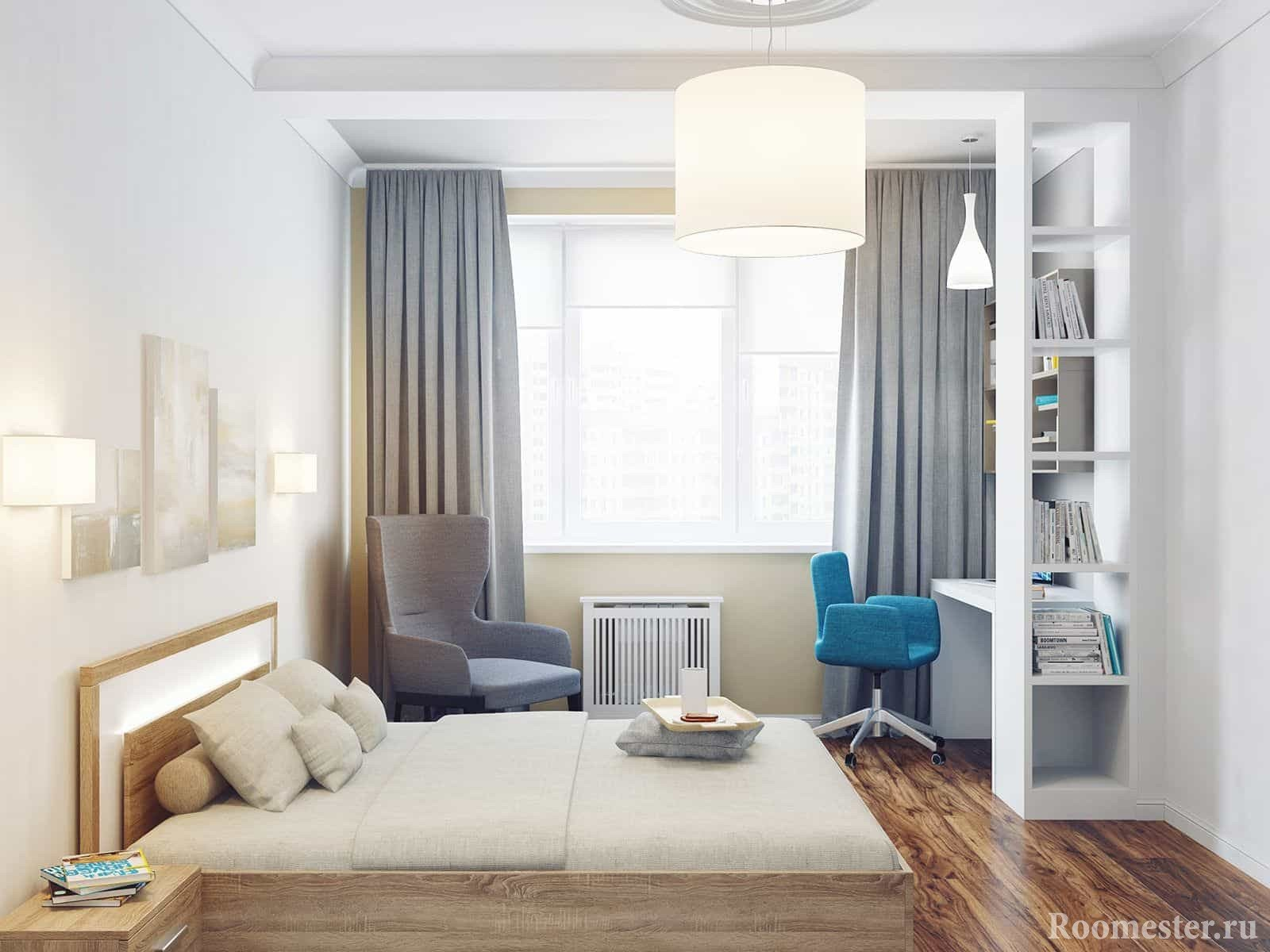 In the bedroom 4 by 4 can fit not only a bed, but also a chair and a corner with a workplace.