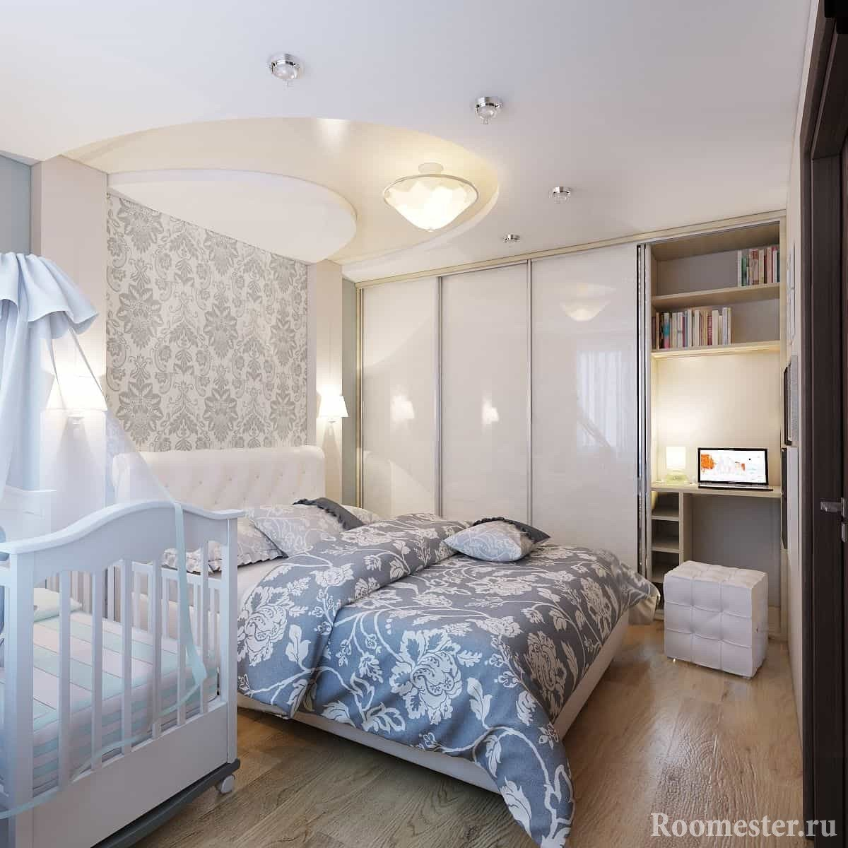Bedroom 4 by 4 meters with baby cot