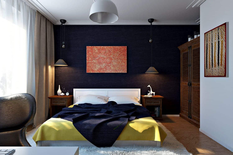 Баклажанный цвет в отделке стен спальни