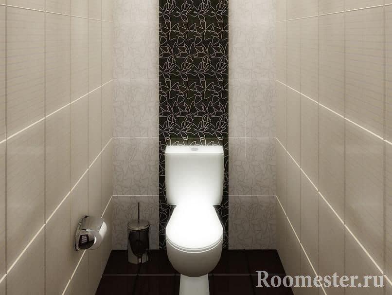 Туалет маленькой площадью в кафельной плитки
