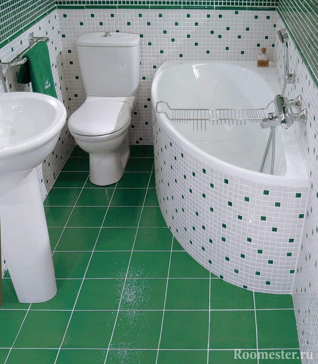 Бело-зеленая угловая ванна