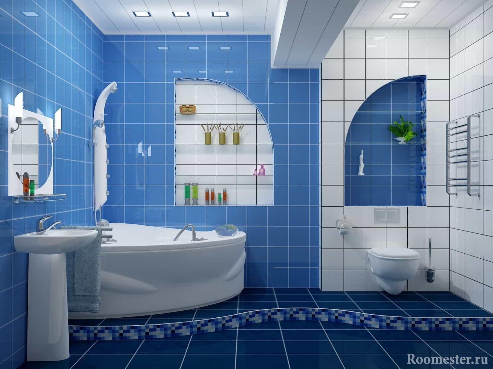 Большая бело-голубая ванна