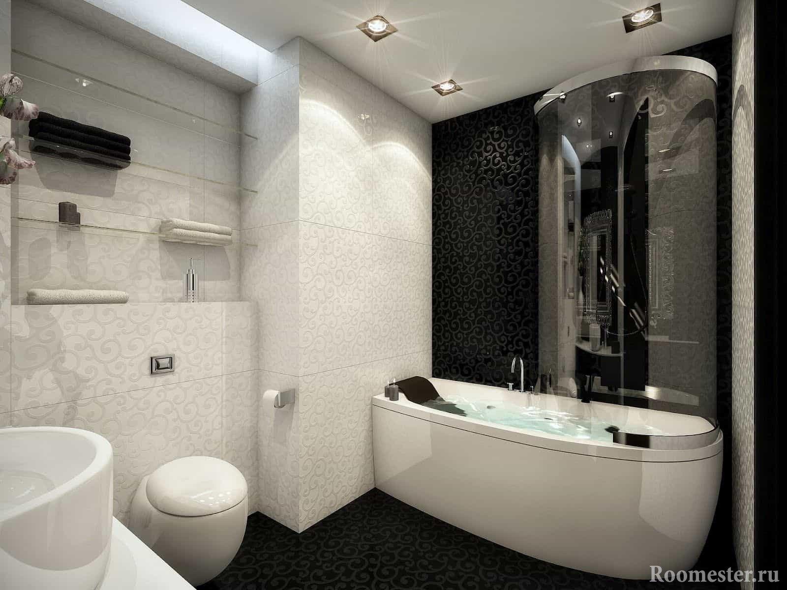 Сочетание белой и черной плитки в ванной комнате