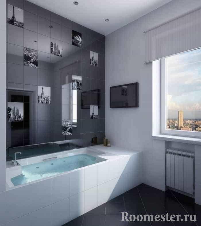 Ванная комната в панельном доме с окном