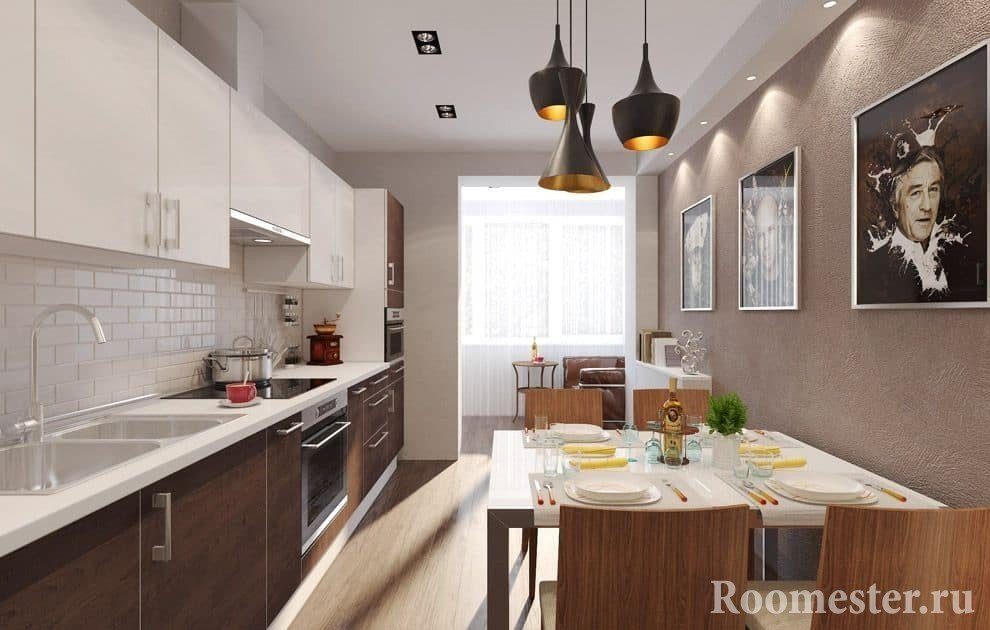 Modern elongated kitchen with dining table