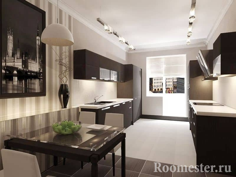 Elongated kitchen with dining area