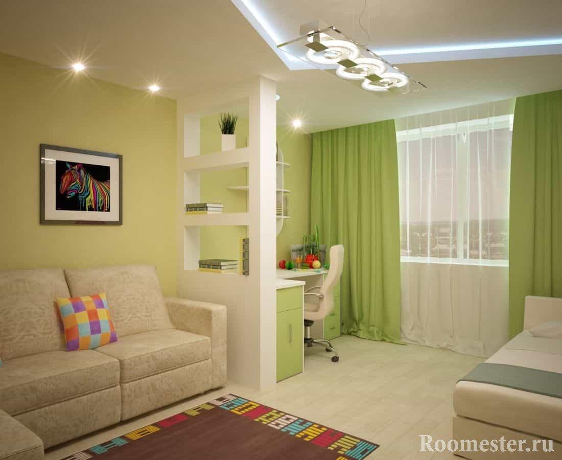 Гипсокартонная перегородка для детской в гостиной комнате