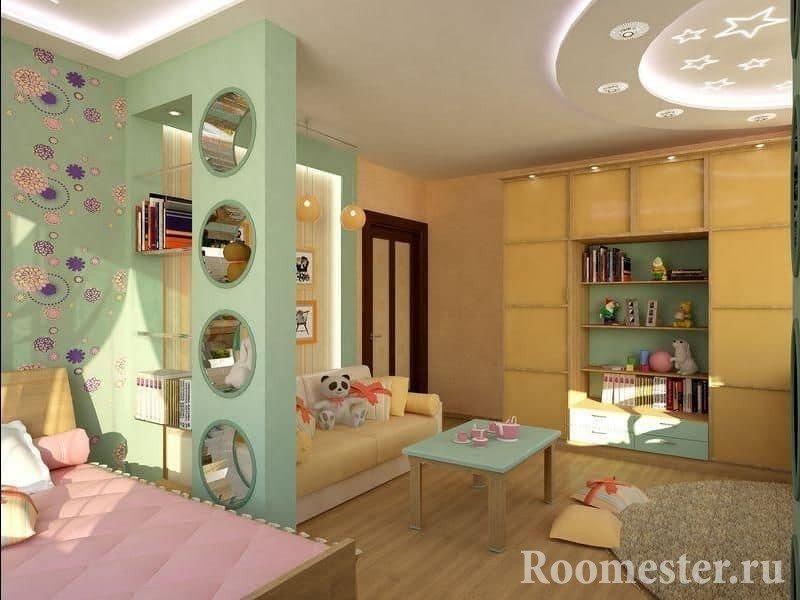 Детская и гостиная в одной комнате отделены гипсокартонной перегородкой