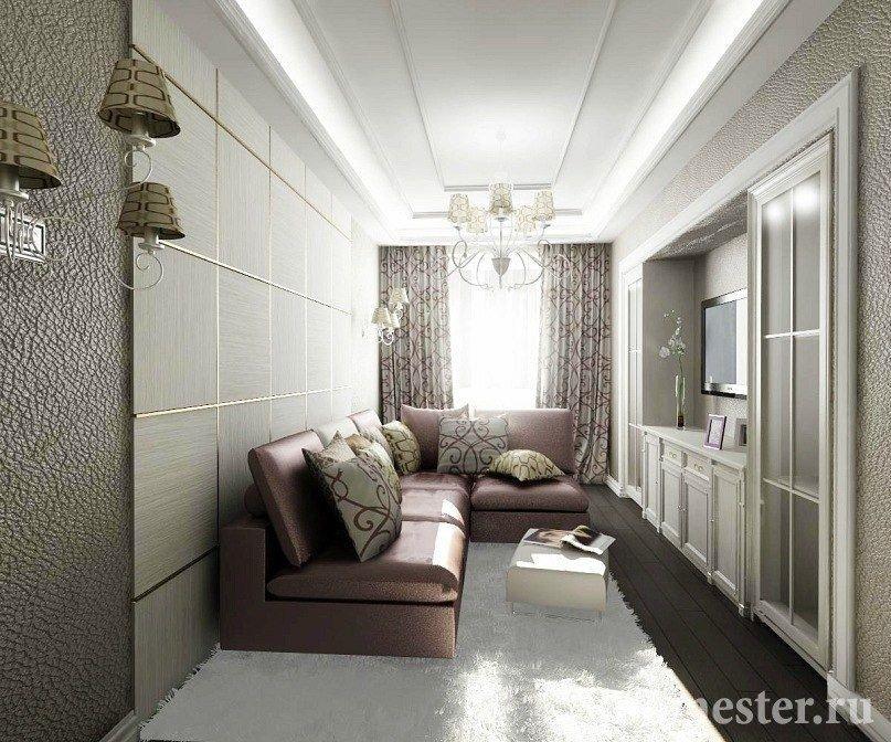 Светлая узкая гостиная