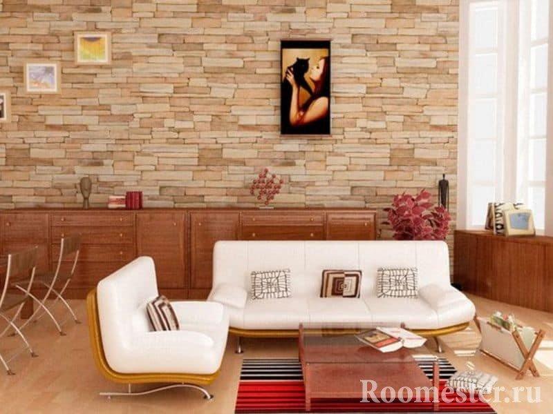 Искусственный камень в интерьере квартиры студии