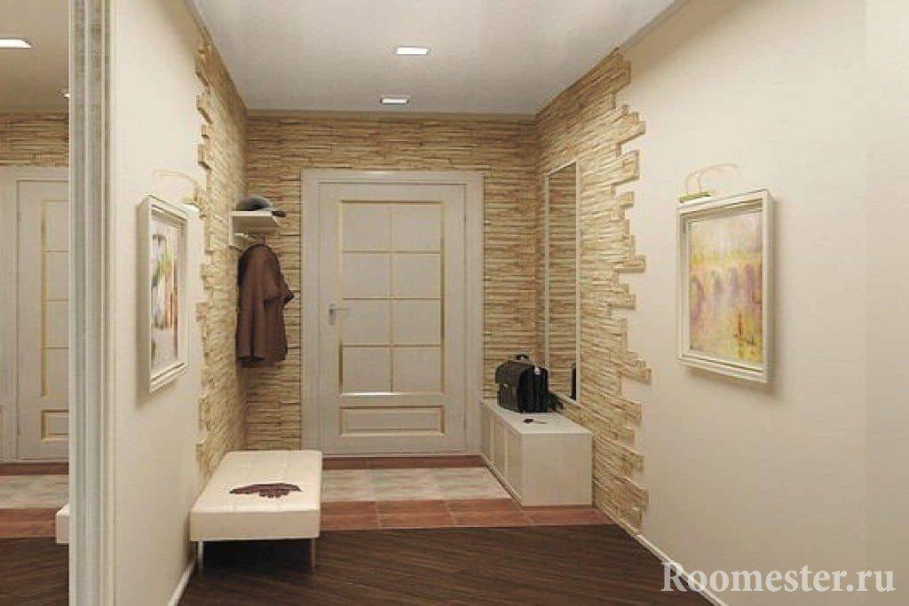 Декоративный камень у входной зоны коридора