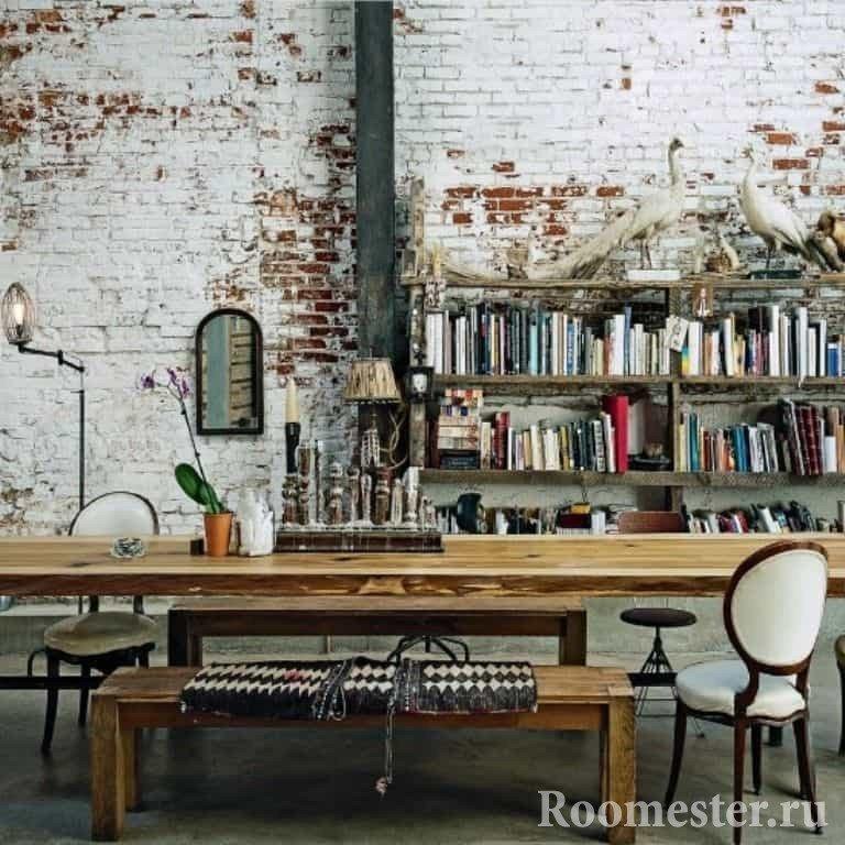 Кабинет с библиотекой в стиле гранж
