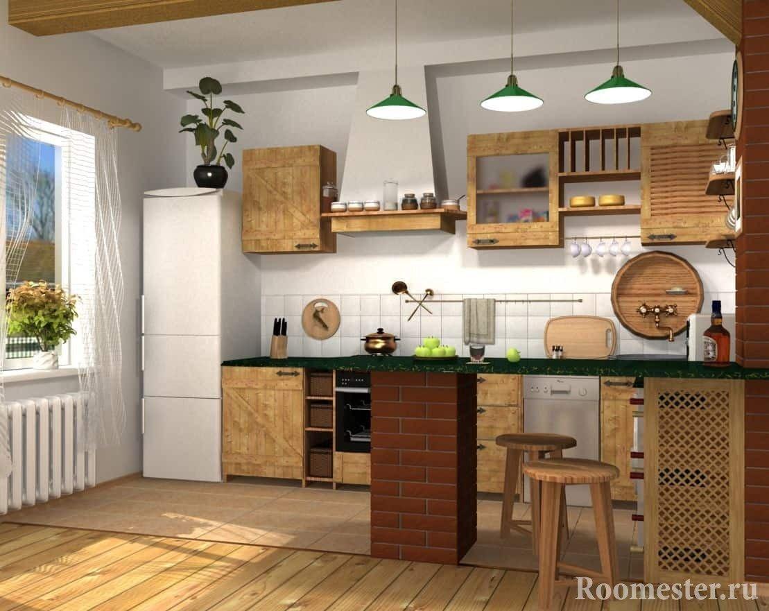 Просторная кухня с деревянными фасадами