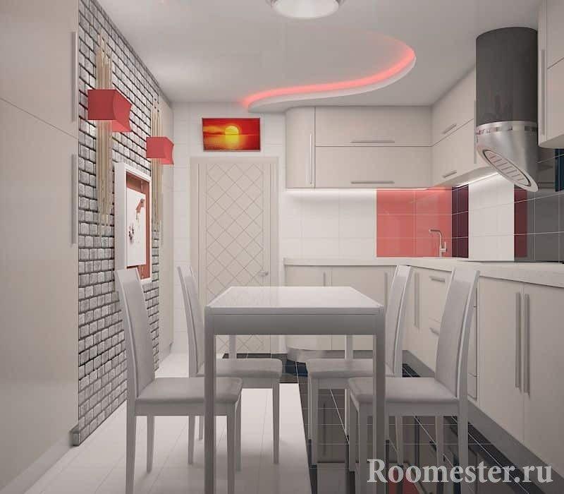 Не большая кухня с обеденном столом в белом цвете