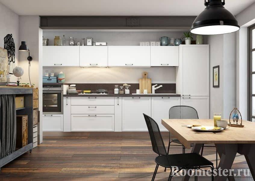 Большая кухня в современном стиле с обеденным столом